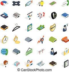 isométrique, icônes, ensemble, style, activité, achat