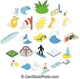 isométrique, icônes, ensemble, style, eau, amusement