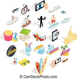 isométrique, icônes, ensemble, style, exotique, recours