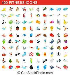 isométrique, icônes, ensemble, style, fitness, 100, 3d