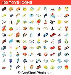 isométrique, icônes, ensemble, style, jouets, 100, 3d
