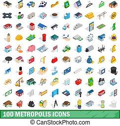 isométrique, icônes, ensemble, style, métropole, 100, 3d