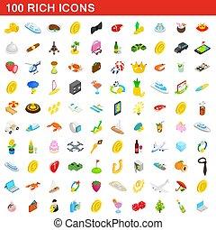 isométrique, icônes, ensemble, style, riche, 100, 3d