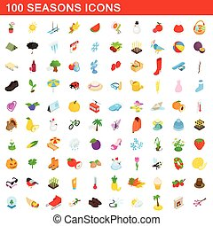 isométrique, icônes, ensemble, style, saisons, 100, 3d