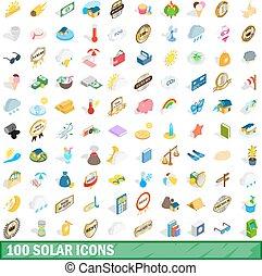 isométrique, icônes, ensemble, style, solaire, 100, 3d