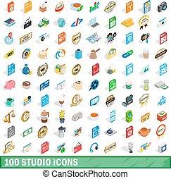 isométrique, icônes, ensemble, style, studio, 100, 3d