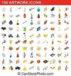 isométrique, icônes, ensemble, style, typon, 100, 3d