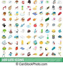 isométrique, icônes, ensemble, style vie, 100, 3d
