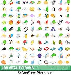 isométrique, icônes, ensemble, style, vitalité, 100, 3d