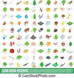 isométrique, icônes, ensemble, style, zoo, 100, 3d