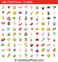 isométrique, icônes, festival, style, ensemble, 100, 3d