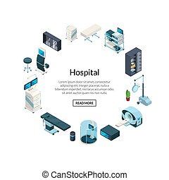 isométrique, icônes, hôpital, forme, vecteur, cercle
