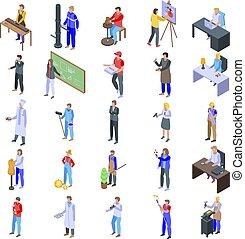 isométrique, icônes, style, ensemble, artisan