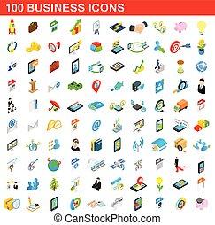 isométrique, icones affaires, ensemble, style, 100, 3d