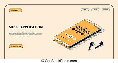 isométrique, illustration., application, mobile, écouteurs, bluetooth, téléphone sans fil, vecteur, musique