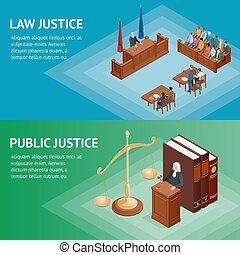 isométrique, illustration., balances, justice, justice, concept., maillet, thème, livres, vecteur, statue, droit & loi, juge