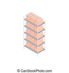 isométrique, illustration, boîtes, vecteur, petit, etagères