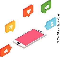 isométrique, illustration, concept, internet, gestion réseau, vecteur, social, style