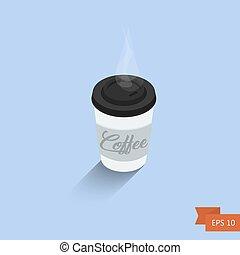 isométrique, illustration., cup., café, isolé, vecteur, icon.