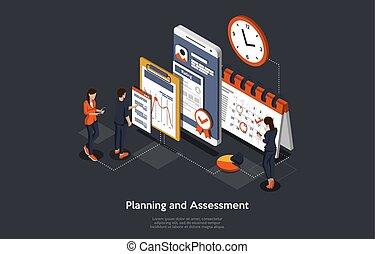 isométrique, illustration, homme, application., business, planification, femmes, évaluation, gens, fonctionnement, vecteur, concept, mobile, recherche, développer