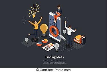 isométrique, illustration, homme, application., femmes affaires, idée, gens, fonctionnement, vecteur, concept, mobile, recherche, développer