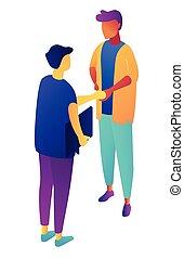 isométrique, illustration., hommes affaires, mains secouer, 3d