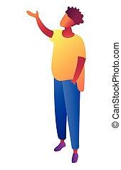 isométrique, illustration., indiquer haut, main, regarder, quelque chose, homme affaires, 3d