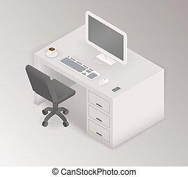 isométrique, illustration, informatique, lieu travail, bureau, 3d