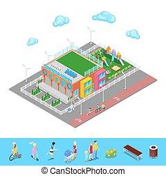 isométrique, illustration, jardin enfants, vecteur, cour de récréation, children.