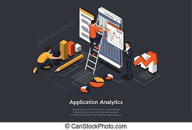 isométrique, illustration, mobile, application., analytics., application, fonctionnement, vecteur, concept, gens, recherche, développer