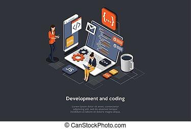 isométrique, illustration, mobile, application., application, coding., fonctionnement, vecteur, concept, développement, gens, recherche, développer