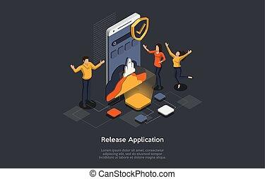 isométrique, illustration, mobile, application., application, release., vecteur, concept, confection, gens, recherche, développer