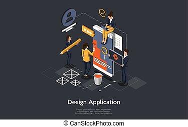 isométrique, illustration, mobile, application., application, vecteur, concept, confection, gens, design., recherche, développer