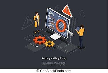 isométrique, illustration, mobile, application., fixation, vecteur, essai, concept, bogue, gens, recherche, développer