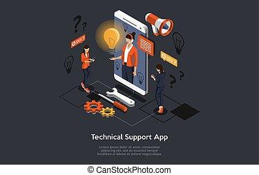 isométrique, illustration, mobile, application, support., technique, résoudre, vecteur, concept, gens, issues.