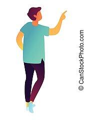 isométrique, illustration., pointage doigt, homme affaires, 3d