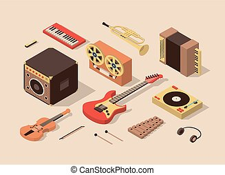 isométrique, illustration, set., vecteur, musique, 3d, icône