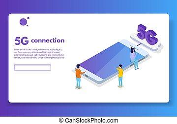 isométrique, illustration., technology., concept., connexion, vecteur, 5g, télécommunications