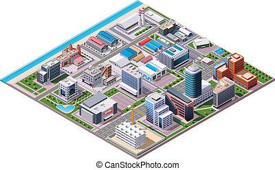 isométrique, industriel, c, business