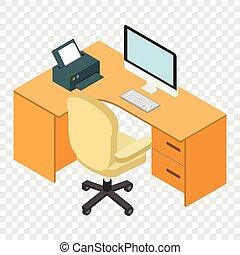 isométrique, informatique, lieu travail, bureau, 3d