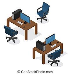 isométrique, informatique, lieu travail