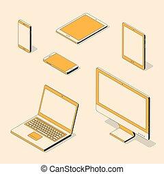 isométrique, informatique, set., illustration, vecteur, appareils, branché, électronique