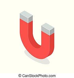 isométrique, isolé, illustration, aimant, arrière-plan., vecteur, blanc