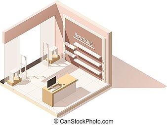 isométrique, jaquette, boutique, poly, vecteur, bas, icône