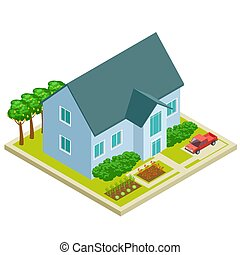 isométrique, jardin, pays, fruit, conception, vectot, maison, légume