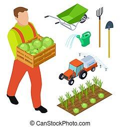 isométrique, jardinage, objets, équipement, vecteur, paysan
