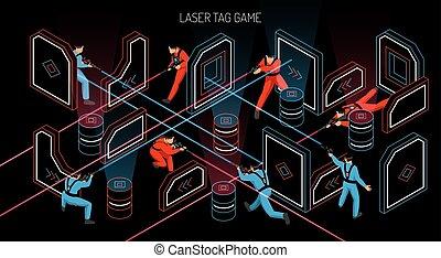 isométrique, laser, étiquette, bannière