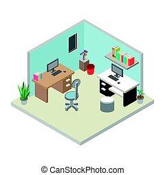 isométrique, lieu travail, bureau, illustration.
