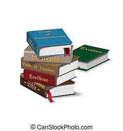 isométrique, livres, pile