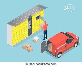 isométrique, lockers., service colis, ceci, exprès, delivery...